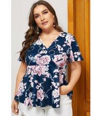 blusa con cuello en v y estampado floral con diseño de abrigo azul marino de yoins plus size
