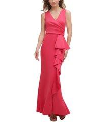 jessica howard petite side-ruffle gown