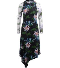 long sea lily asymmetrical dress with ribbed print