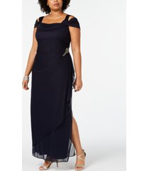 alex evenings plus size embellished cold-shoulder gown