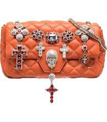 philipp plein charm-embellished shoulder bag - orange