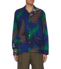 archive print patchwork collar shirt
