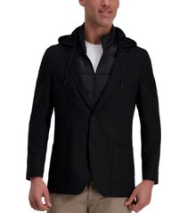 haggar men's the active series slim-fit stretch commuter blazer with zip-out puffer jacket