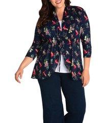 plus size women's kiyonna lori print tunic jacket, size 3x - blue