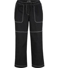 pantaloni capri con impunture a contrasto e cinta comoda (nero) - bpc bonprix collection