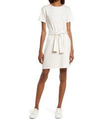 women's bb dakota by steve madden stripe tie waist midi t-shirt dress, size x-large - white