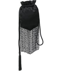 galvan cascade beaded fringed pouch - black