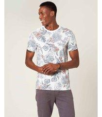 camiseta slim folhagens malwee branco - gg