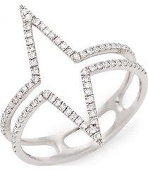 14k white & diamond outline ring