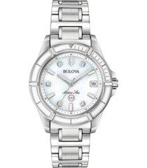 bulova women's marine star diamond-accent stainless steel bracelet watch 34mm
