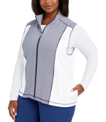 alfred dunner plus size road trip zip-front vest