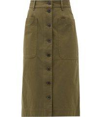 corbin buttoned cotton-blend skirt