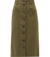 corbin buttoned cotton-blend skirt