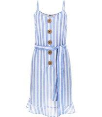 vestido en lino estampado color blanco, talla 12