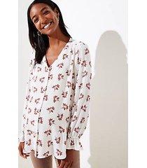 loft maternity bouquet bell cuff v-neck blouse