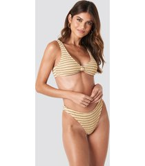 na-kd swimwear smocked striped high cut bikini panty - beige