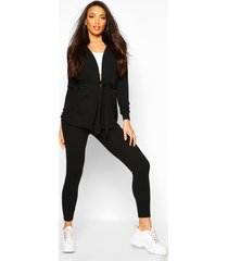soft rib belted cardigan and legging co-ord, black