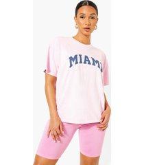oversized overdye miami t-shirt, light pink