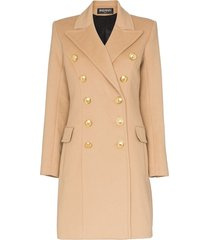 balmain double-breasted wool and cashmere-blend coat - neutrals