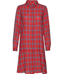 dhfrankie shirt dress knälång klänning röd denim hunter
