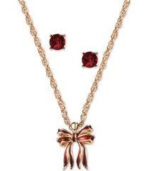 charter club gold-tone bow pendant necklace & crystal stud earrings set, created for macy's