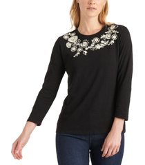 lucky brand 3/4-sleeve embroidered cotton t-shirt