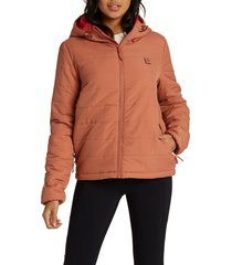 women's billabong transport hooded puffer coat, size x-large - coral