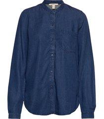 blouses denim långärmad skjorta blå esprit casual