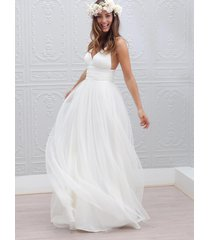 a-line v neck long white tulle summer beach wedding dress with open back