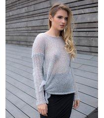 sweter wiązany jasnoszary