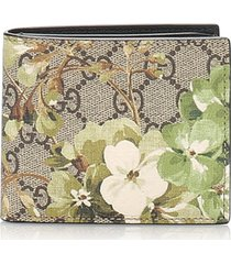 gucci gg supreme blooms bifold wallet brown, beige, multi sz: