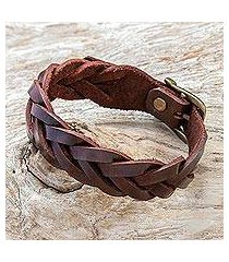 leather braided wristband bracelet, 'everyday charm in espresso' (thailand)