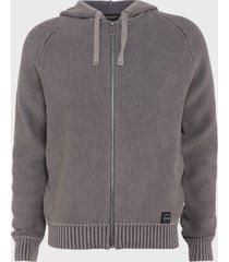 sweater ellus tejido hoodie full zipper gris - calce regular