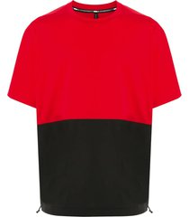 blackbarrett two-tone drawstring-hem t-shirt - red