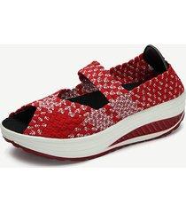 reputable site 59a2e 1ac07 donna scarpe a dondolo con zeppa a peep-toe con cucito