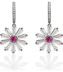sterling silver & cubic zirconia daisy drop earrings