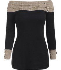 off shoulder knit panel buttons top
