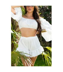 sexy latina zomer set- cropped top en shorts wit