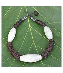 agate beaded necklace, 'adom wo wim' (ghana)