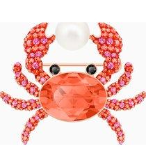 spilla ocean crab, multicolore, placcato oro rosa