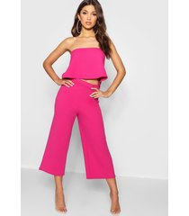 bandeau top & culottes co-ord set, bright pink