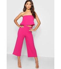 bandeau top & culottes co-ord set, bright pink