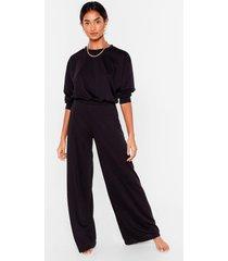womens give it a rest wide-leg pants lounge set - black