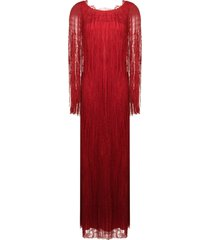 alberta ferretti fringed detail evening dress - red