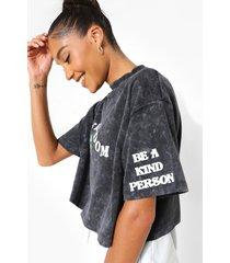 kort acid wash gebleekt t-shirt met opdruk, charcoal