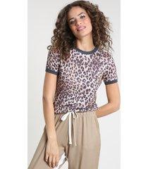 blusa feminina estampada animal print onça com linho manga curta decote redondo bege
