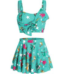plus size star dinosaur knotted tankini swimwear with skirt