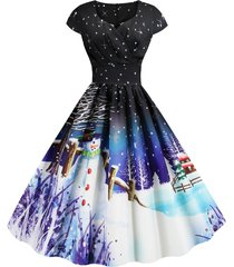 christmas santa claus elk snowman print surplice dress