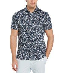 men's paint floral print short sleeve button - down shirt