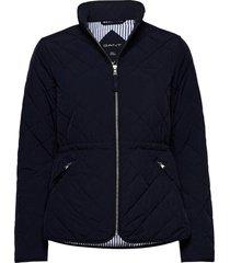 d1. quilted fitted jacket doorgestikte jas blauw gant
